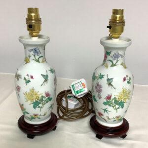 Pair of Floral Ceramic Lamps
