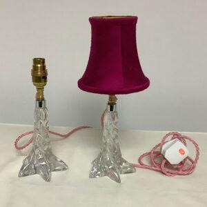 Pair of vintage crystal lamps by Lorraine Crystalerie