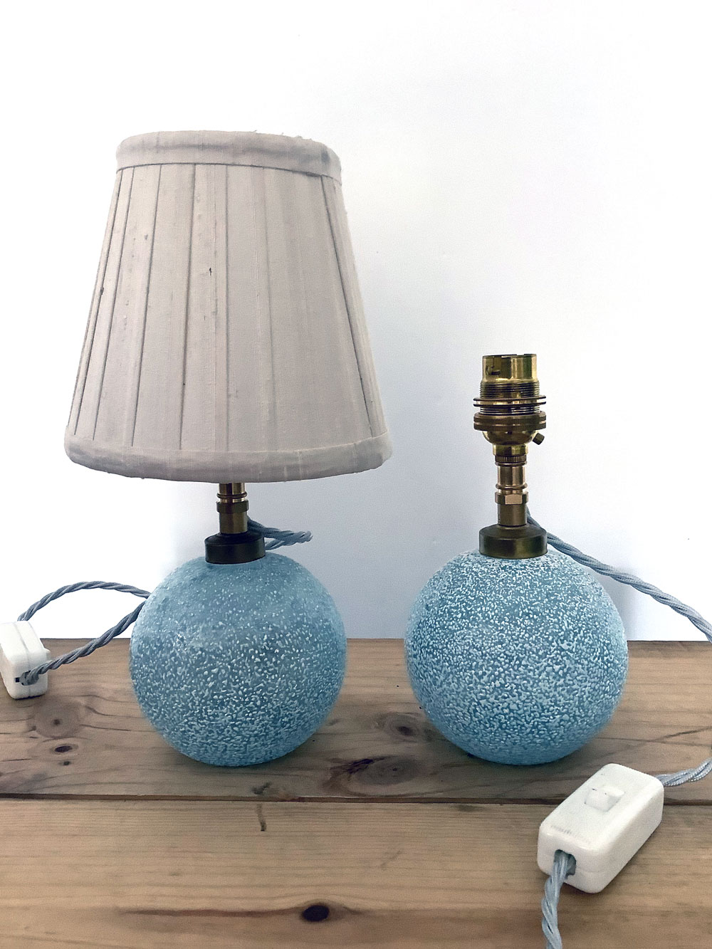 Vintage Glass Snowball Lamps